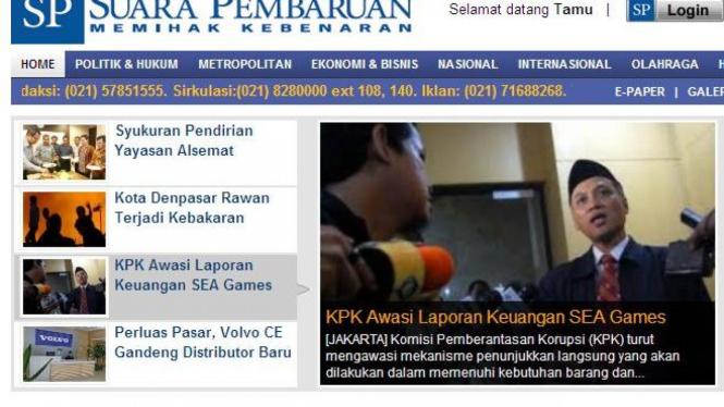 Tampilan www.suarapembaruan.com