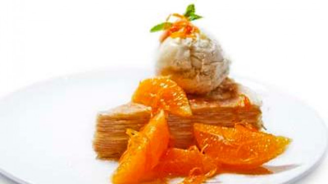 Orange Suzette Crepes Cake