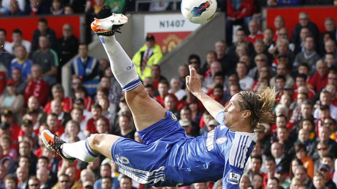 Fernando Torres saat melawan MU