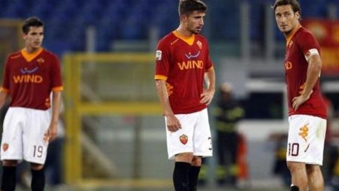 Pemain AS Roma di pertandingan melawan Siena