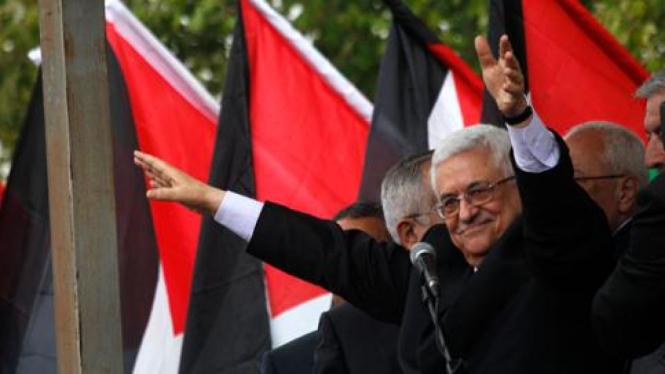 Abbas berpidato di Ramallah, Tepi Barat
