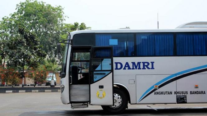 Bus Damri di Terminal Pasar Minggu