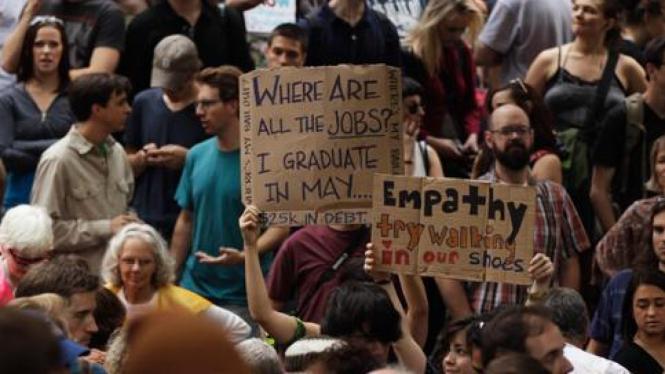 Demonstrasi di Manhattan, New York, Amerika Serikat