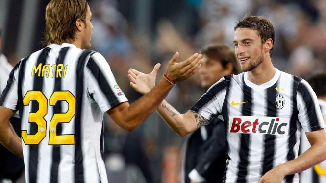 Alesandro Matri (kiri) dan Claudio Marchisio