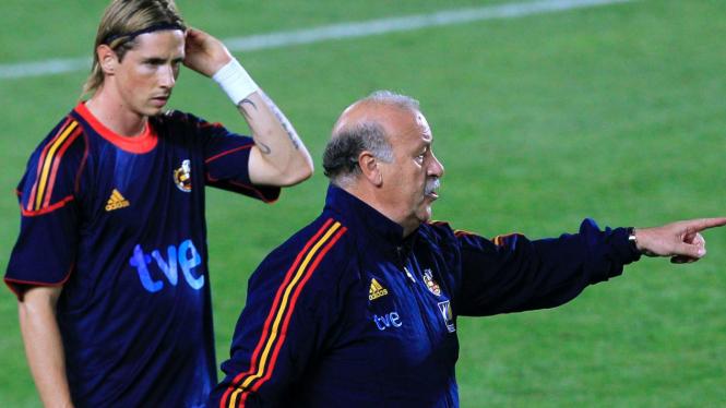 Fernando Torres (kiri) dan Vicente del Bosque