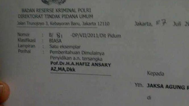 Surat Pemberitahuan Dimulai Penyidikan tersangka Ketua KPU Abdul Hafiz Anshary