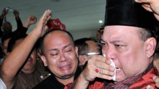 Ekspresi Walikota Bekasi Mochtar Muhammad saat divonis bebas korupsi
