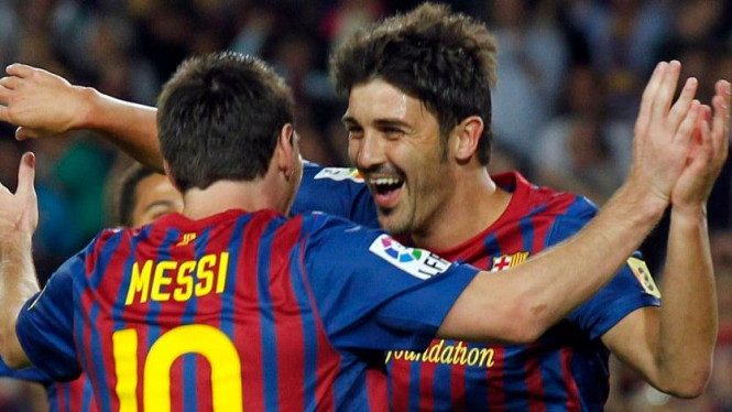 David Villa dan Lionel Messi