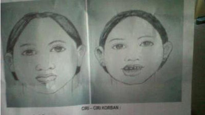 Sketsa wajah korban pembunuhan di Cakung