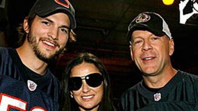 Ashton Kutcher, Demi Moore dan Bruce Willis
