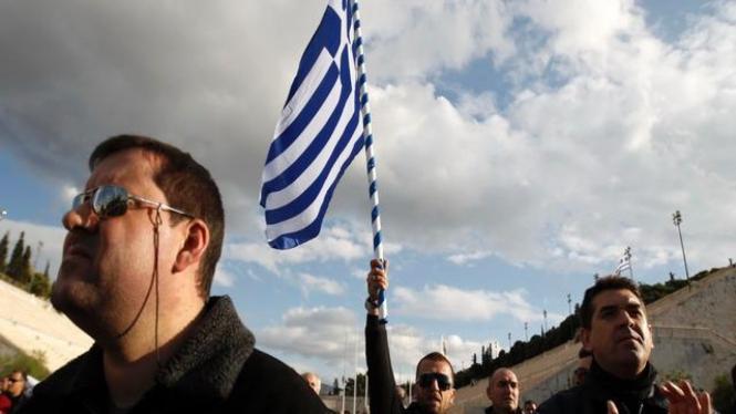Demonstrasi para pekerja di Yunani