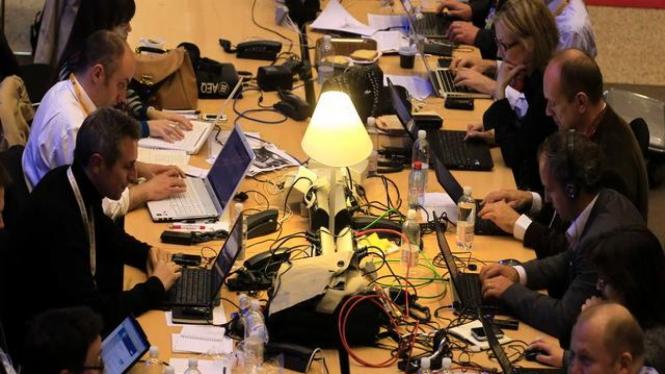 Ruang kerja para jurnalis peliput KTT Eropa di Brussels, Eropa