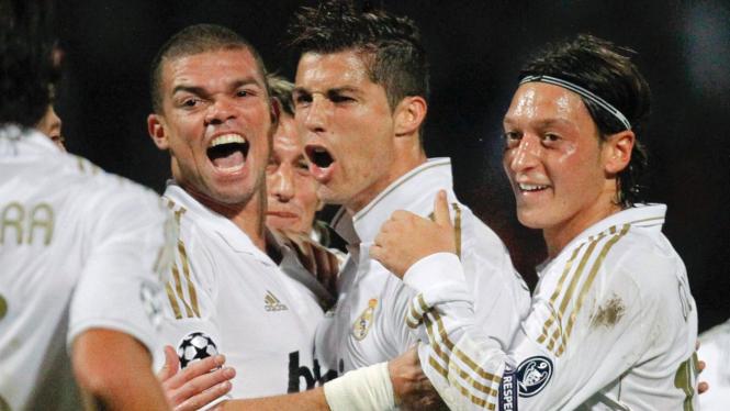 Cristiano Ronaldo di pertandingan melawan Olympique Lyon