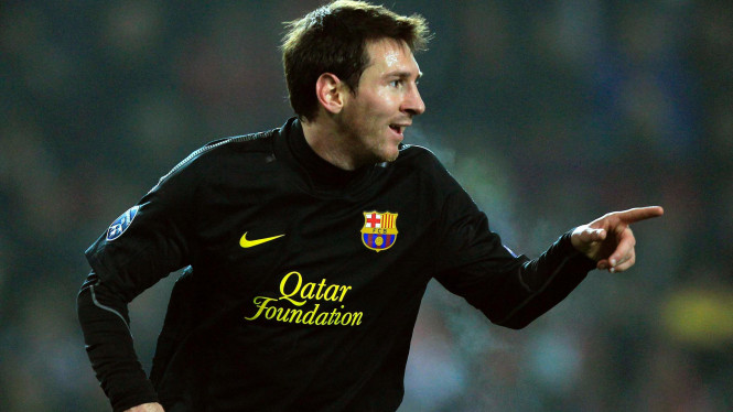 Lionel Messi di pertandingan melawan Viktoria Plzen