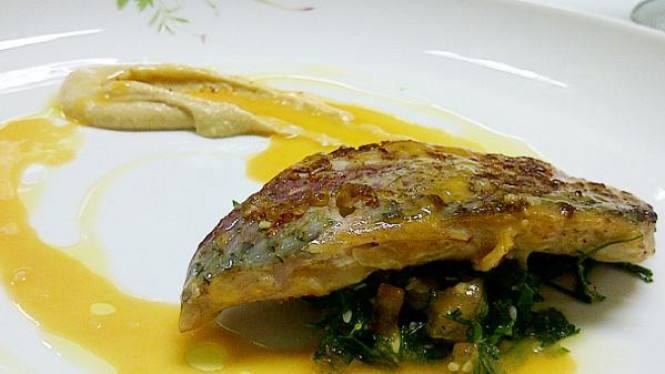Seared Red Mullet Fillet, Hummus, Grilled Sesame Seed Preserved Lemon