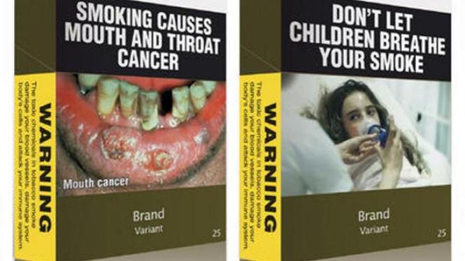 Contoh kemasan rokok yang diperbolehkan di Australia