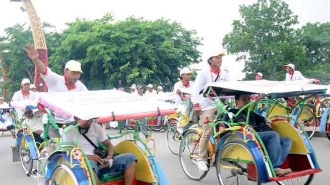Pasukan becak di SEA Games Palembang