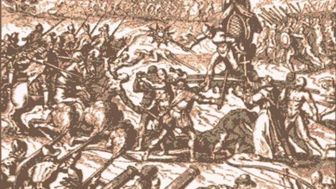 Lukisan ilustrasi pembantaian Pasukan Spanyol atas Suku Inca