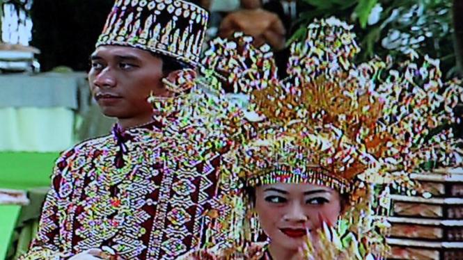 Prosesi Tari Pagar Pengantin di Pernikahan Ibas-Aliya di Istana Cipanas
