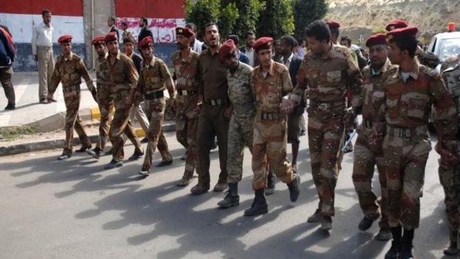 Pasukan keamanan Yaman berjaga di Ibukota Sanaa