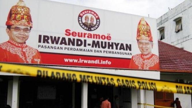Kantor media center peserta pemilukada Aceh Irwandi-Muhyan