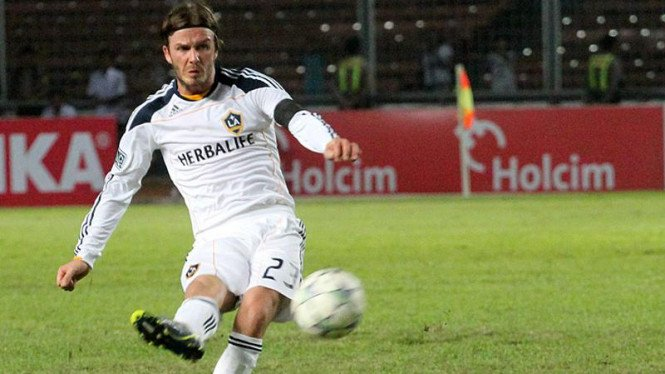 David Beckham di Pertandingan Timnas Selection VS LA Galaxy