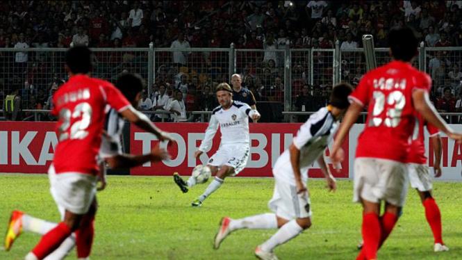 David Beckham di Pertandingan Timnas Selection VS LA Galaxy