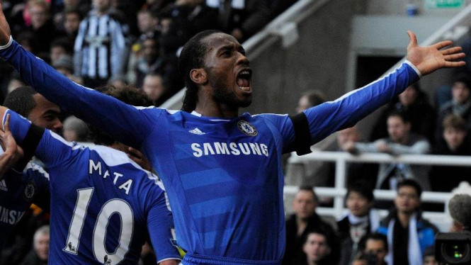 Didier Drogba usai membobol gawang Newcastle United