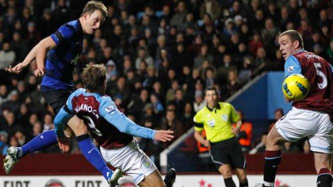 Phil Jones (Kiri/Biru) saat jebol gawang Aston Villa