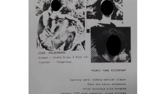 Surat ancaman saksi kunci murid SMA Pangudi Luhur