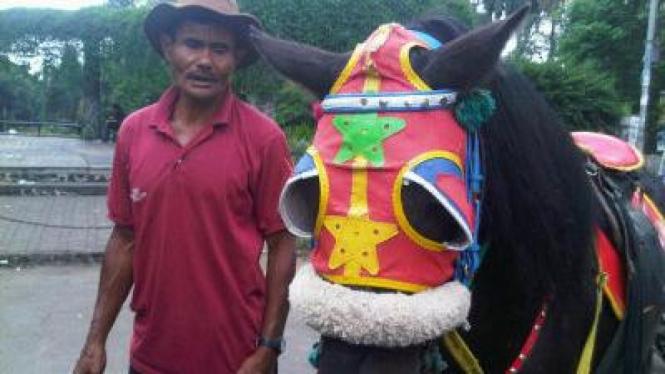 Penyewaan kuda di depan kampus ITB, Bandung