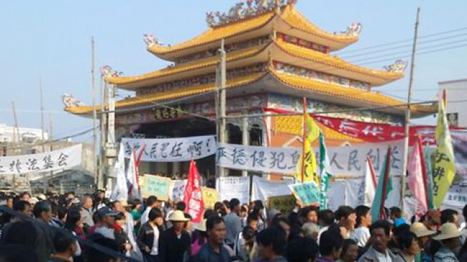 Warga desa Wukan turun ke jalan, protes pencaplokan lahan