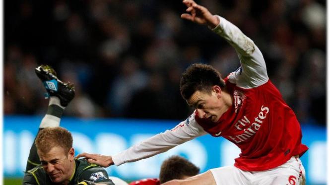 Kiper Manchester City Joe Hart saat melawan Arsenal