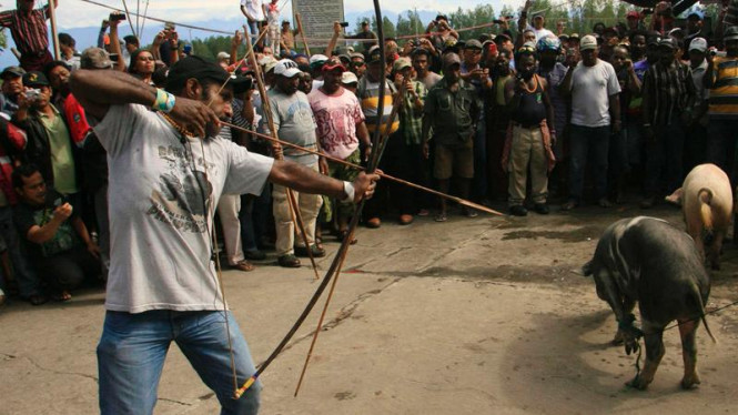 Ritual panah babi akhiri mogok Freeport