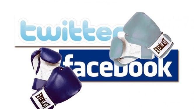 Ilustrasi pertarungan Facebook vs Twitter.