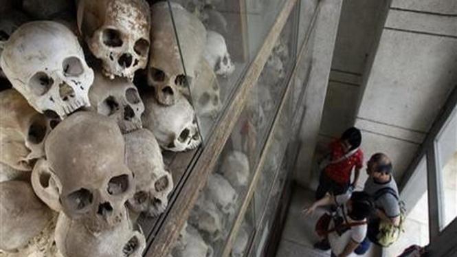 Tengkorak para korban kekejaman Khmer Merah di Kamboja
