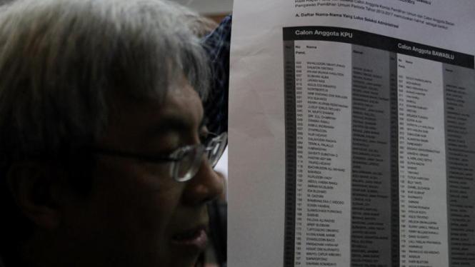 Pengumuman Hasil Seleksi Calon Anggota KPU dan Bawaslu