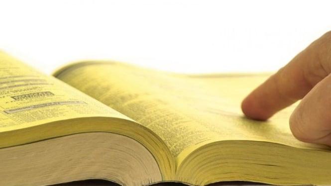 Ilustrasi buku telepon Yellow Pages
