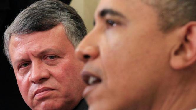 Raja Yordania, Abdullah, (kiri) dan Presiden AS Barack Obama