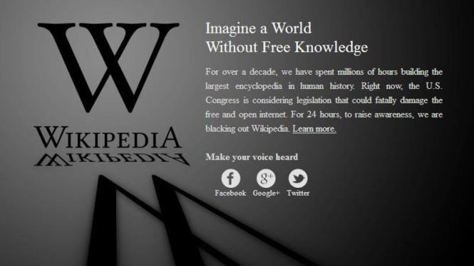 Tampilan laman Wikipedia selama aksi mogok tayang (offline)