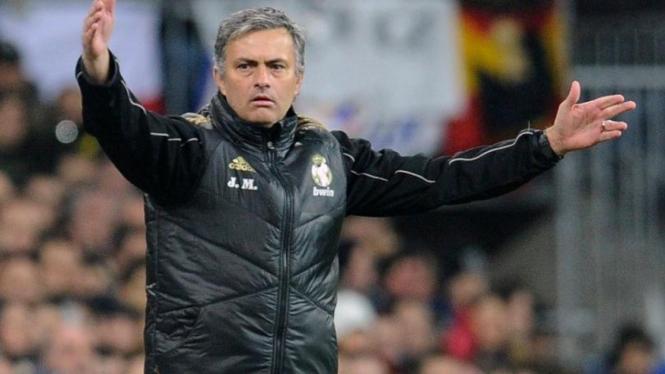 Jose Mourinho saat Real Madrid melawan Barcelona
