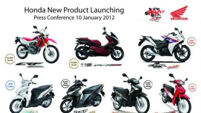 Tujuh model motor Honda terbaru di tahun 2012