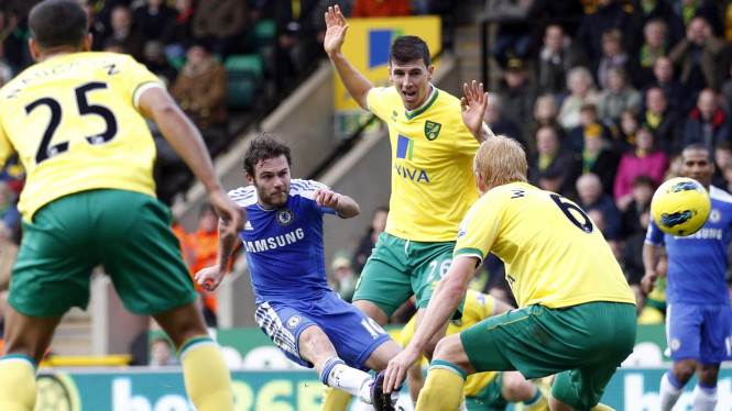 Juan Mata melepaskan tendangan saat melawan Norwich