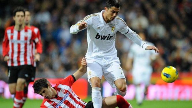 Cristiano Ronaldo saat menghadapi Athletico Bilbao