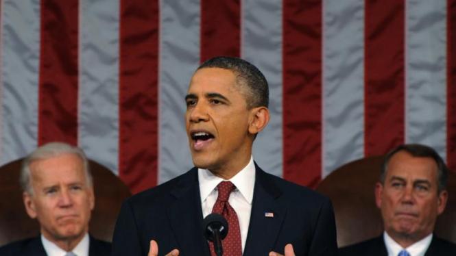 Barack Obama saat pidato nasional tahunan di Kongres