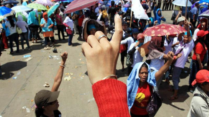 Demo buruh di Cakung, Jakarta Utara