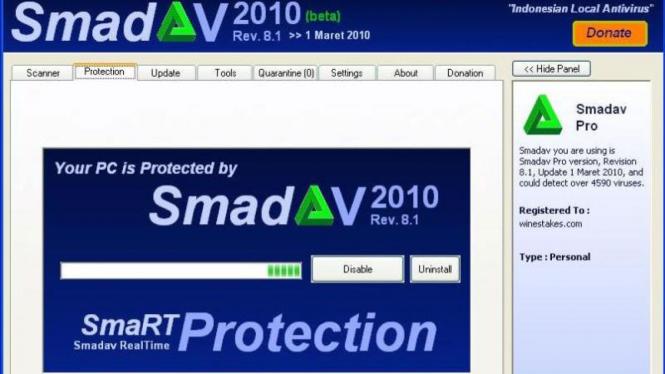 Tampilan antivirus smadav