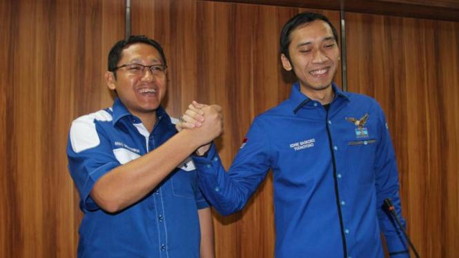Ketua Umum Partai demokrat Anas Urbaningrum dan Edhie Baskoro Yudhoyono
