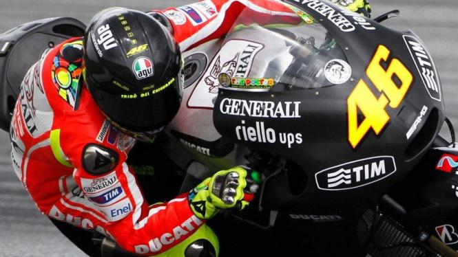 Pembalap Ducati, Valentino Rossi, di Sirkuit Sepang