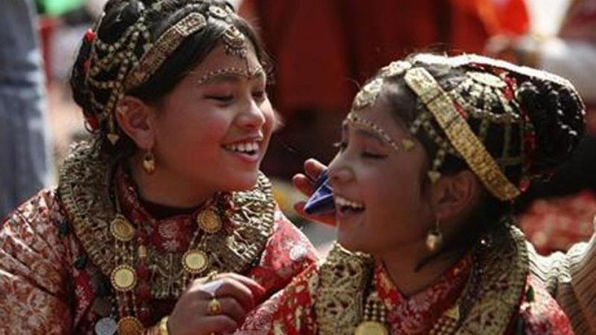 Ritual pernikahan dengan dewa wisnu di Nepal